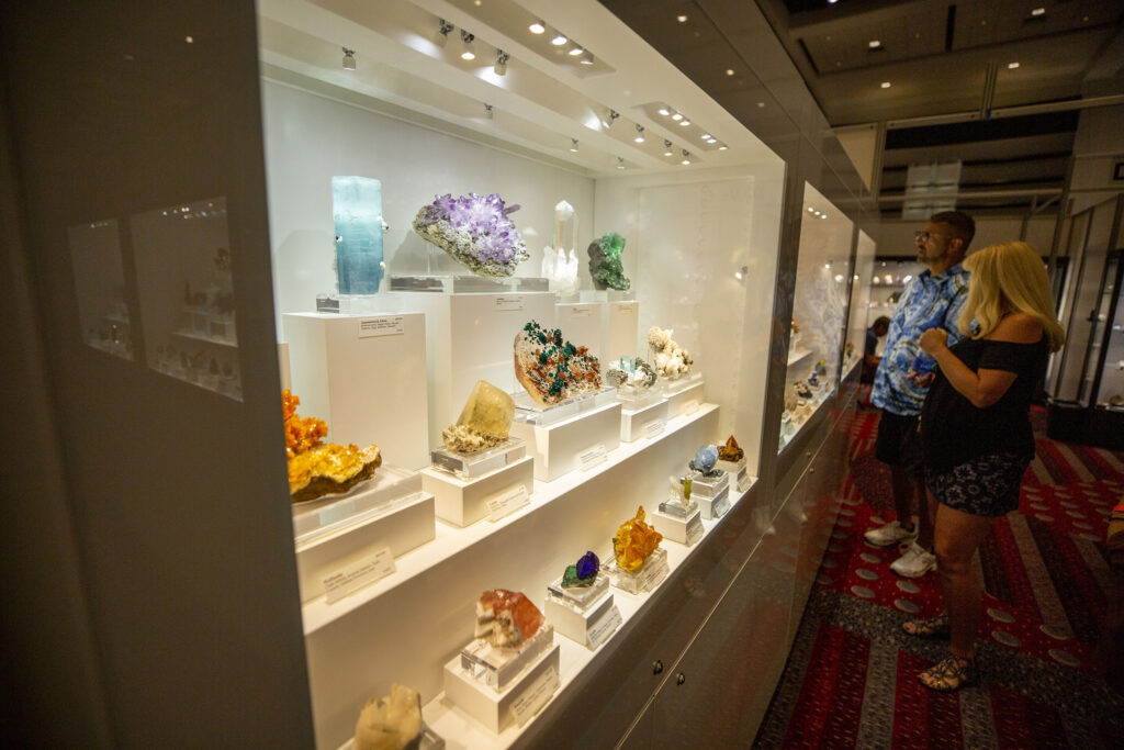 Gems and crystals on display at the Hardrock Summit. Colorado Convention Cener, Sept. 16, 2021.