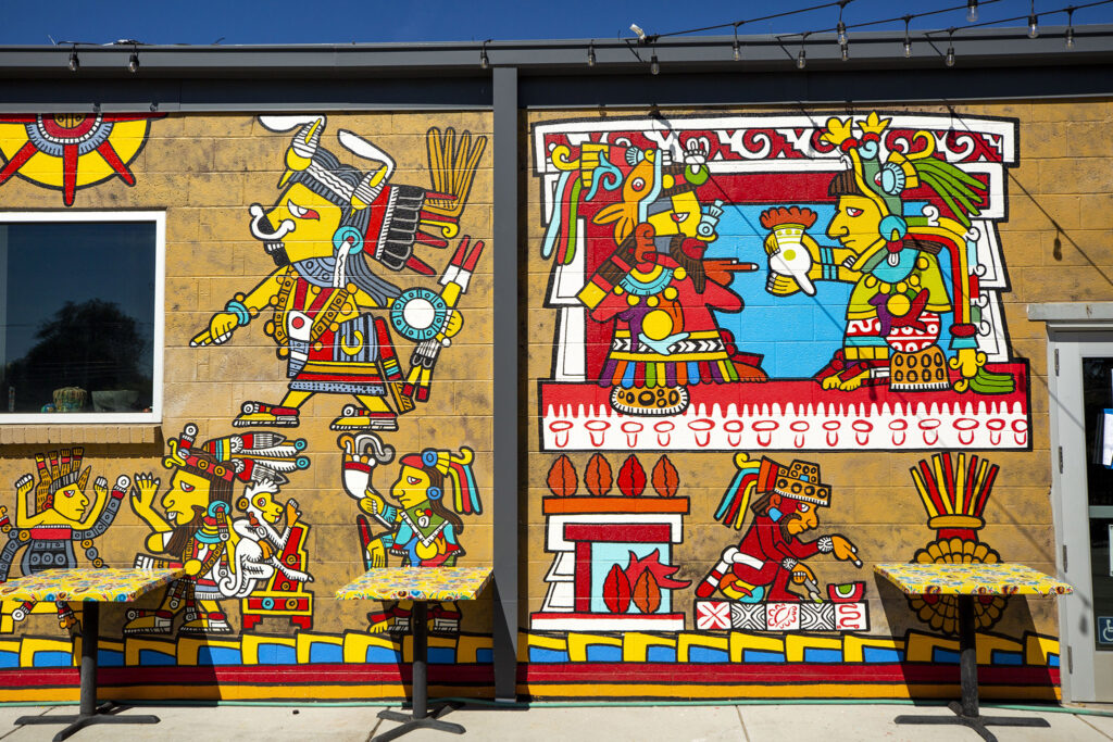 A mural by Santiago Jaramillo on the wall at Re:Vision. Morrison Road, Westwood, Sept. 21, 2021.