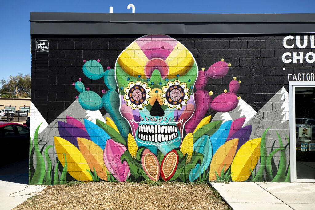 Jwlç Mendoza's mural on the side of Cultura Chocolate on Morrison Road. Westwood, Sept. 21, 2021.