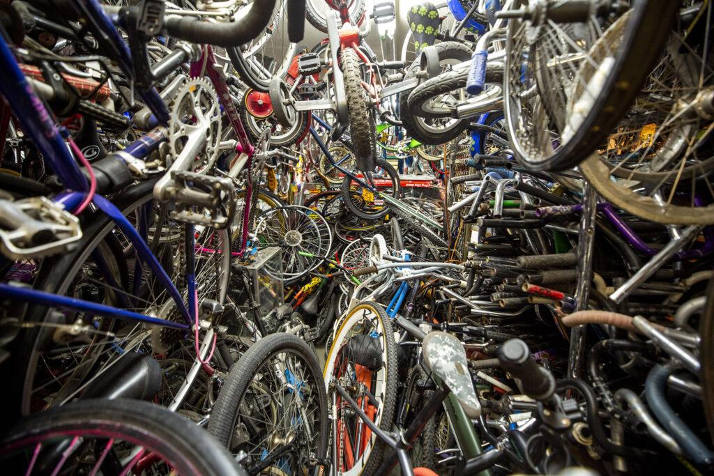 Inside One Stop Bike Shop on Morrison Road. Westwood, Sept. 21, 2021.