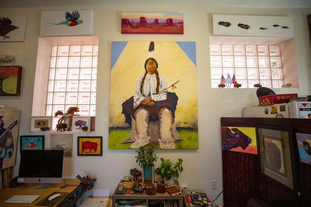 Arturo Garcia's art in his Morrison Road Studio. Sept. 22, 2021.