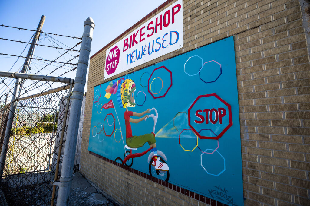 JWLC Mendoza's mural on the side of Morrison Road's One Stop Bike Shop. Sept. 22, 2021.