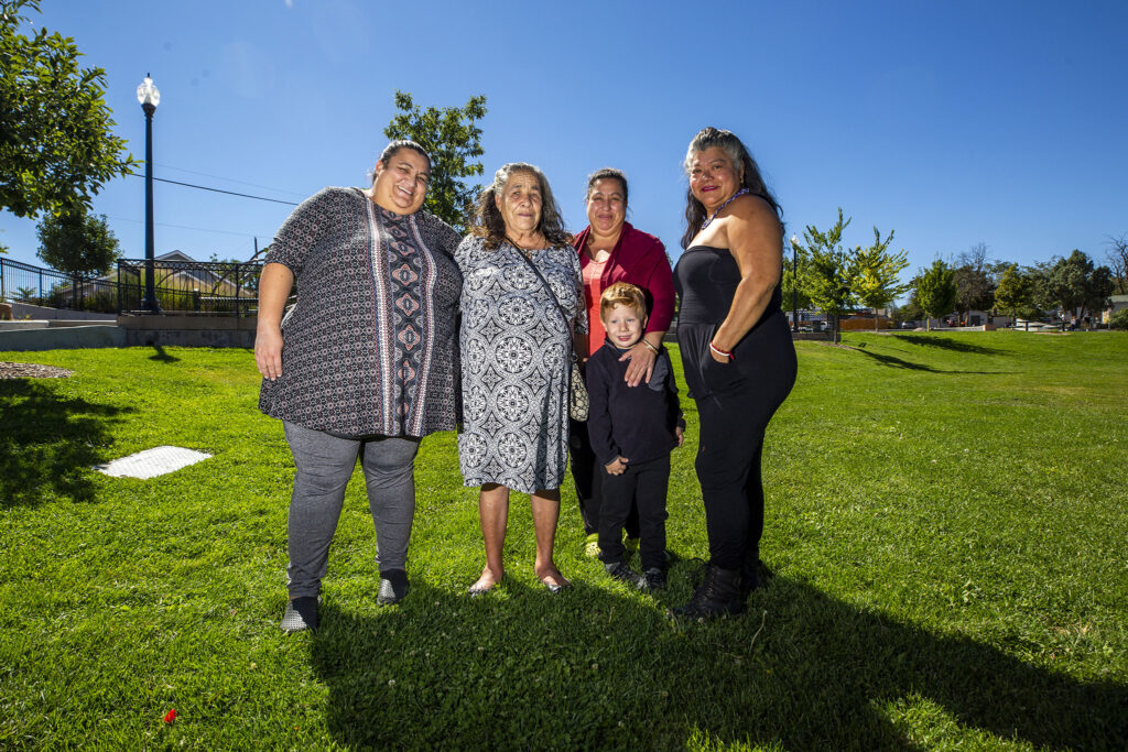 Mujeres Emprendedoras members Matilde Garcia, Maria Rubio, Anotina Garcia (and her son, Miguel) and Irma Díaz stand in Westwood's Quatro Vientos Park, not far from Morrison Road. Sept. 22, 2021.