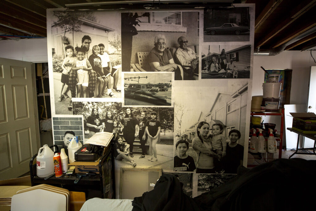 Photos by Juan Fuentes on the wall inside the D3 Arts studio on Westwood's Morrison Road. Sept. 23, 2021.