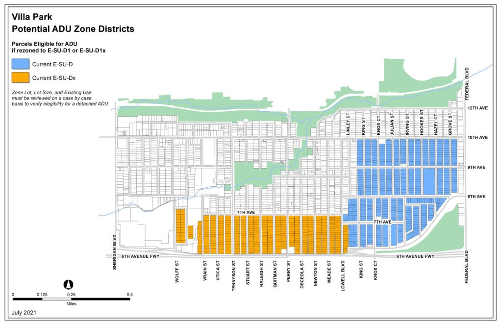 Map of possible ADU rezoning in Villa Park.