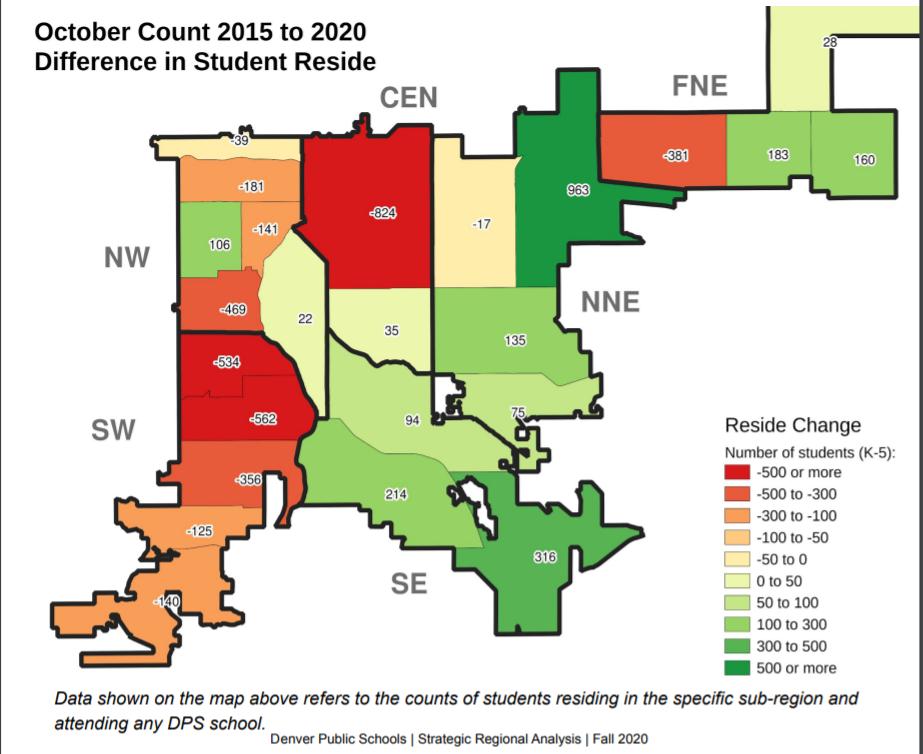 A Denver Public School map of student population changes from 2015 to 2020.