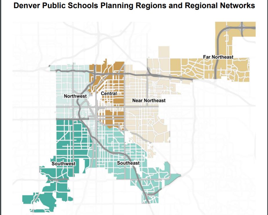 A Denver Public Schools regional map.