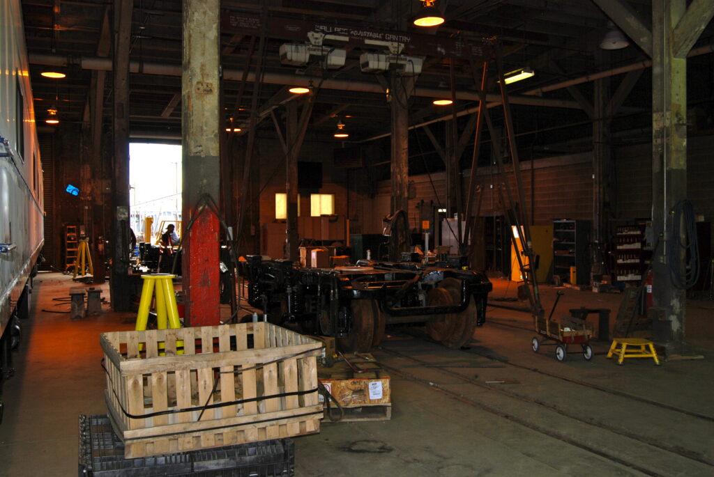 The interior of the repair shop at Burnham Yard circa 2010. It burned down in August 2021.
