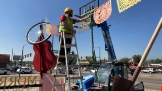 The city is doing some work on the big Morrison Road guitar sculpture.