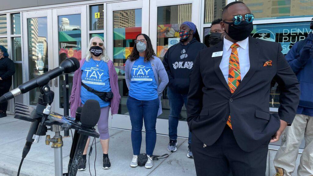 Denver school board member Tay Anderson outside Denver Public School headquarters on Friday, Sept. 17, 2021. (Esteban L. Hernandez/Denverite)