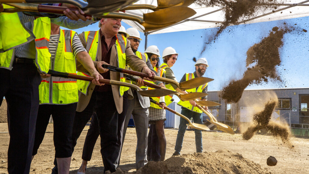 Officials and supporters break ground on a new greenhouse in Denver's southwest Marston neighborhood that will provide fresh food to Denver Public Schools students. Oct. 5, 2021.