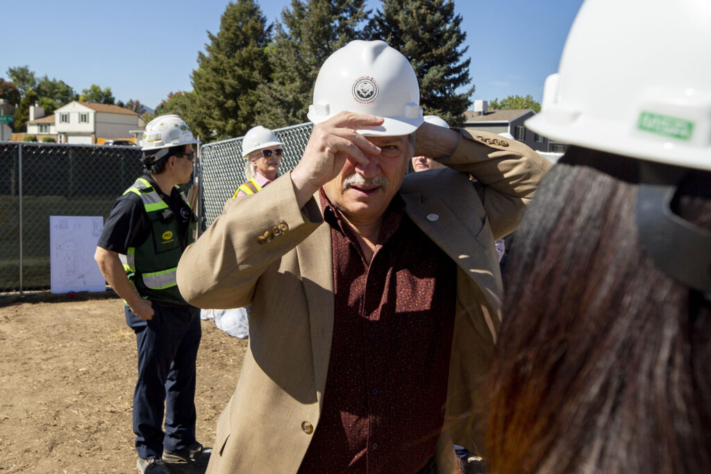 Denver City Council member Kevin Flynn attends a groundbreaking for a new greenhouse that will serve local students. Oct. 5, 2021.