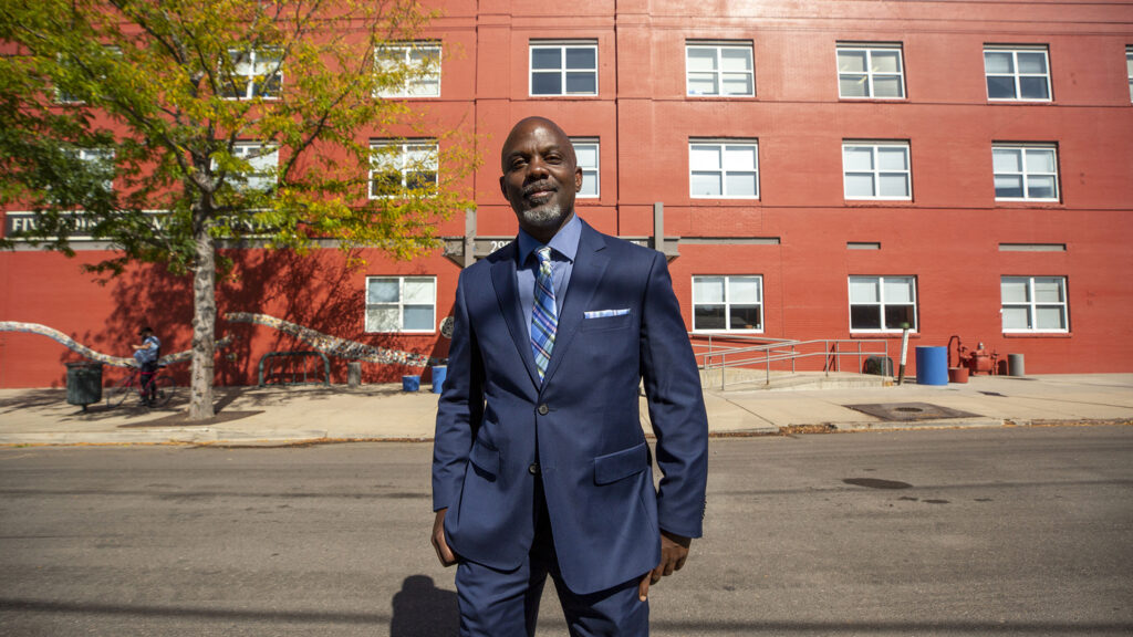 Jeff Campbell stands in front of the Five Points Media Center, 2900 Welton St. Oct. 5, 2021.