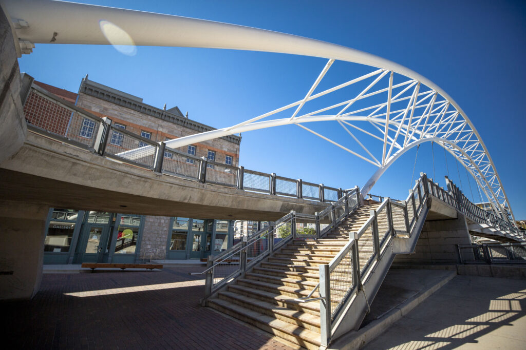The BRDG Project sits behind the Highland Bridge at 16th and Platte Streets. Oct. 7, 2021.