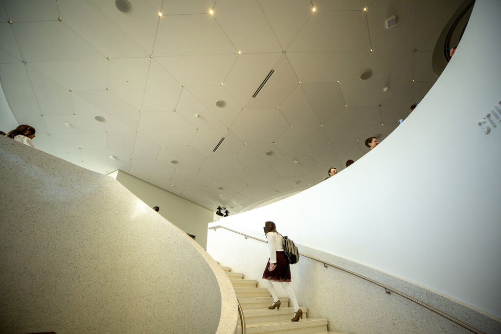 Stairs into the Denver Art Museum's newly opened Sie Welcome Center. Oct. 13, 2021.