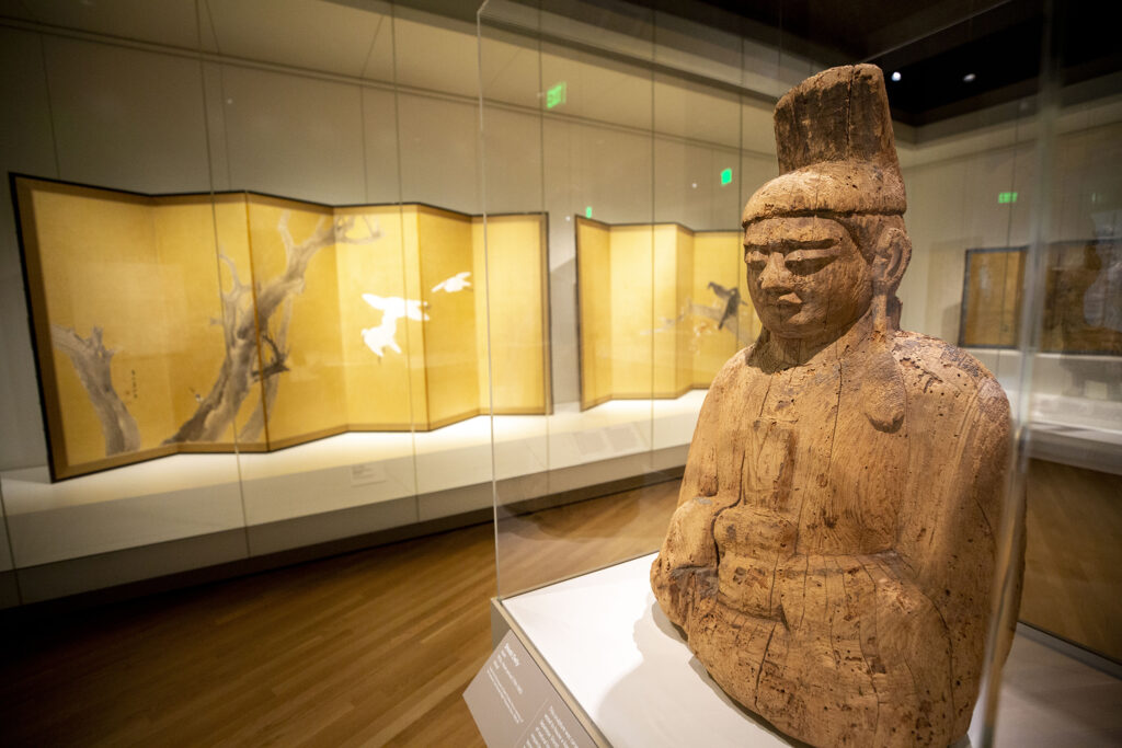 A tenth-century statue of a Shinto diety inside the Denver Art Museum's newly opened Martin Building. Oct. 13, 2021.
