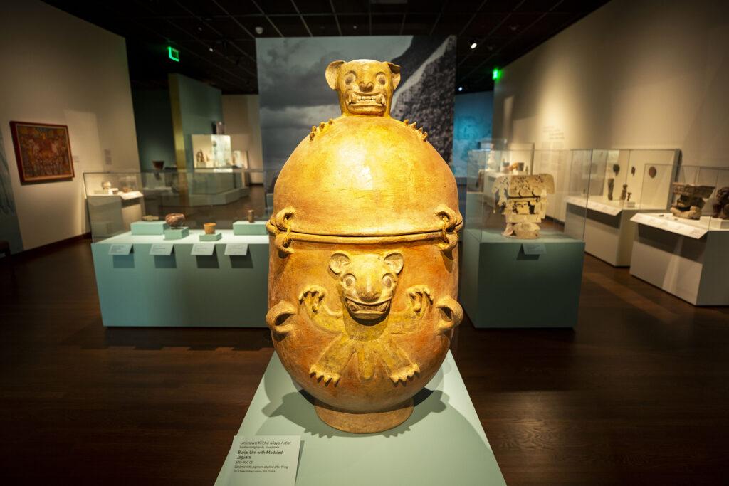 A Guetemalan burial urn, circa the ninth century, inside the Denver Art Museum's newly opened Martin Building. Oct. 13, 2021.