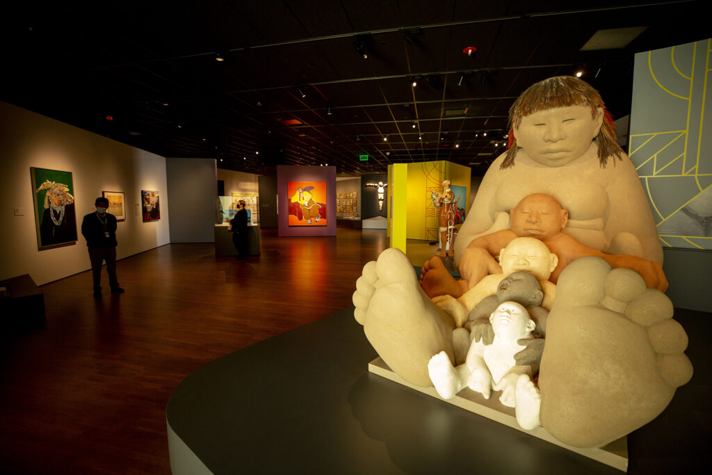 """""""Mud Woman Rolls On"""" by Roxanne Swentzel on display in a contemporary Native American art exhibit in the Denver Art Museum's newly opened Martin Building. Oct. 13, 2021."""