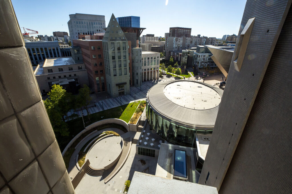 The Denver Public Library's central branch and the Denver Art Museum's new Sie Welcome Center seen from atop of the DAM's Martin Building. Oct. 13, 2021.