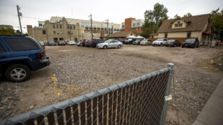 The future site of a safe outdoor campsite at 8th Avenue and Elati Street, on the northwest corner of Denver Health's campus. Oct. 21, 2021.