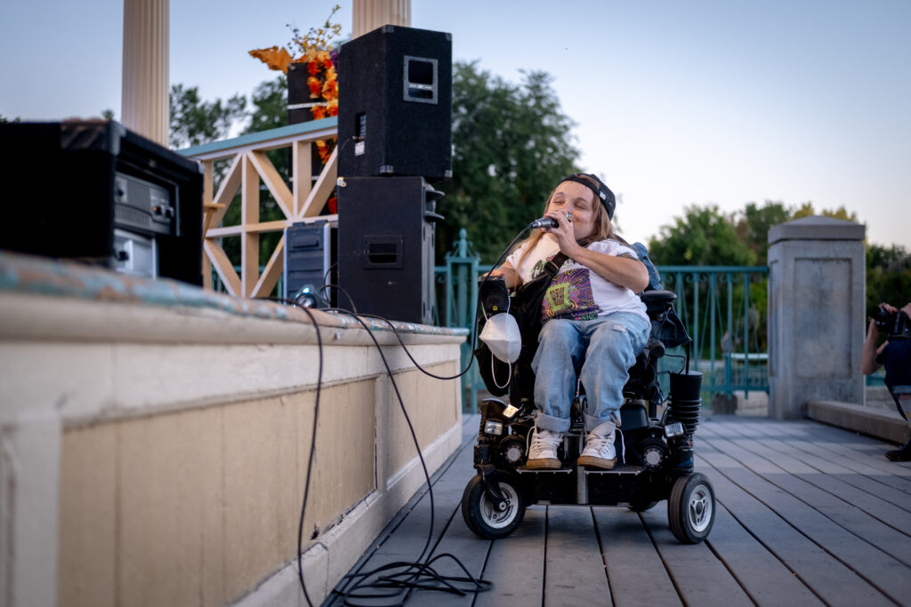 Kalyn Heffernan, a hip hop artist and community activist, makes a special appearance for Machete Mouth's performance at the 13th and final edition of Titwrench in City Park on Sunday, October 3, 2021.